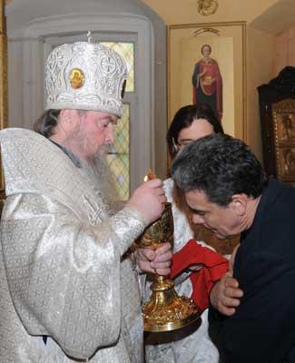 Причастие в Вознесенском храме села Тархово Клинского благочиния