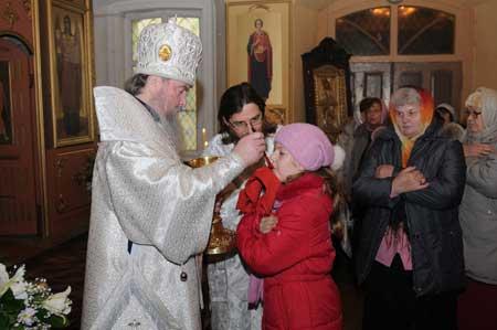 Причастие в Вознесенском храме Клинского благочиния в селе Тархово